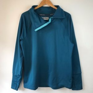 Champion Snap Turtleneck Turquoise Pullover XL